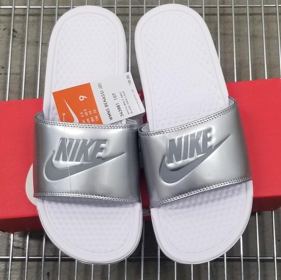 Nike Shoes - Nike Women's Benassi JDI White Metallic Wolf Grey